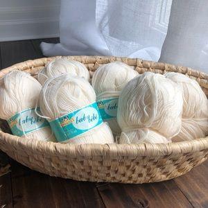 Vtg Phentex 6 Baby Yarn Skeins 50g Cream White